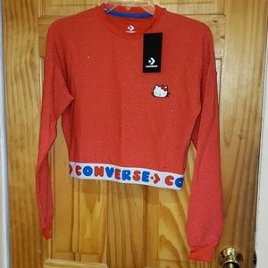 Converse X Hello Kitty red crop top NWT XS NWT